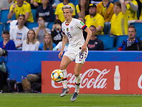 LE HAVRE,  - JUNE 20: Megan Rapinoe #15 dribbles during a game between Sweden and USWNT at Stade Oceane on June 20, 2019 in Le Havre, France.
