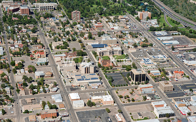 Aerial of downtown Pueblo, Colorado.