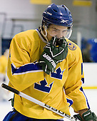 Dennis Everberg (Sweden - 16) - The Merrimack College Warriors defeated the visiting Sweden Under 20 team 4-1 on Tuesday, November 2, 2010, at Lawler Arena in North Andover, Massachusetts.