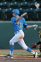 Trevor Brown #11 of the UCLA Bruins bats against the Baylor Bears at Jackie Robinson Stadium on February 25, 2012 in Los Angeles,California. UCLA defeated Baylor 9-3.(Larry Goren/Four Seam Images)