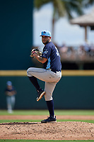 Charlotte Stone Crabs relief pitcher Tommy Romero (35) during a Florida State League game against the Bradenton Marauders on April 10, 2019 at LECOM Park in Bradenton, Florida.  Bradenton defeated Charlotte 2-1.  (Mike Janes/Four Seam Images)