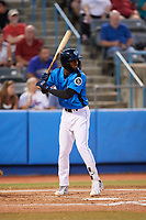 Hudson Valley Renegades left fielder Bryce Brown (1) at bat during a game against the Tri-City ValleyCats on August 24, 2018 at Dutchess Stadium in Wappingers Falls, New York.  Hudson Valley defeated Tri-City 4-0.  (Mike Janes/Four Seam Images)