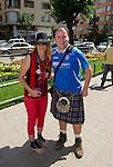 St Johnstone v Eskisehirspor....18.07.12  Uefa Cup Qualifyer.Saints fan Jamie Rae pictured with a Eskisehirspor fans.Picture by Graeme Hart..Copyright Perthshire Picture Agency.Tel: 01738 623350  Mobile: 07990 594431