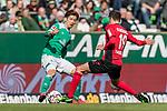 13.04.2019, Weserstadion, Bremen, GER, 1.FBL, Werder Bremen vs SC Freiburg<br /> <br /> DFL REGULATIONS PROHIBIT ANY USE OF PHOTOGRAPHS AS IMAGE SEQUENCES AND/OR QUASI-VIDEO.<br /> <br /> im Bild / picture shows<br /> Yuya Osako (Werder Bremen #08) im Duell / im Zweikampf mit Janik Haberer (SC Freiburg #19), <br /> <br /> Foto &copy; nordphoto / Ewert