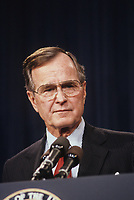 Washington DC., USA, December 7, 1988<br /> Vice-President George H.W. Bush delivers speech on Pearl Harbor Day to War Veterans. Credit: Mark Reinstein/MediaPunch