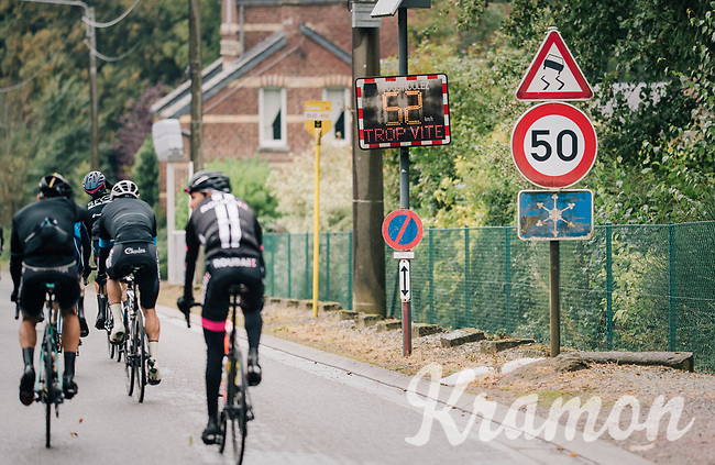 """trop vite!"" / peloton caught speeding<br /> <br /> 2018 Binche - Chimay - Binche / Memorial Frank Vandenbroucke (1.1 Europe Tour)<br /> 1 Day Race: Binche to Binche (197km)"