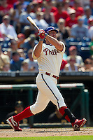 Philadelphia Phillies pinch hitter Jim Thome #25 swings during the Major League Baseball game against the Pittsburgh Pirates on June 28, 2012 at Citizens Bank Park in Philadelphia, Pennsylvania. This would be Thome's final appearance for the Phillies before he was traded a few days later. The Pirates defeated the Phillies 5-4. (Andrew Woolley/Four Seam Images)