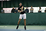 WINSTON-SALEM, NC - JANUARY 23: Wake Forest's Petros Chrysochos (CYP). The Wake Forest University Demon Deacons hosted Coastal Carolina University on January 23, 2018 at Wake Forest Tennis Complex in Winston-Salem, NC in a Division I College Men's Tennis match. Wake Forest won the match 6-1.