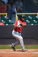 Great Lakes Loons second baseman Willie Calhoun (3) at bat during a game against the Clinton LumberKings on August 16, 2015 at Ashford University Field in Clinton, Iowa.  Great Lakes defeated Clinton 3-2 in ten innings.  (Mike Janes/Four Seam Images)