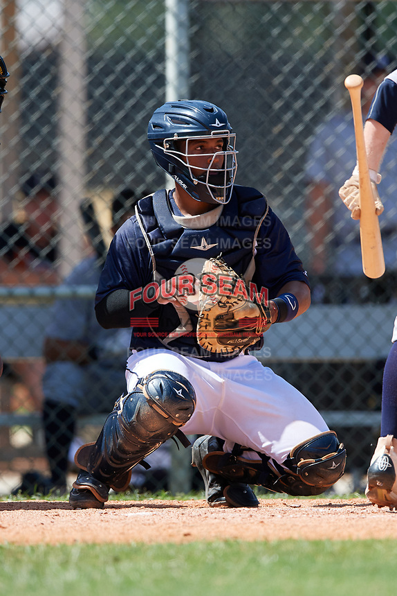 GCL Tigers East catcher Kevynn Arias (26) gets ready to throw the ball back to the pitcher during a game against the GCL Tigers West on August 8, 2018 at Tigertown in Lakeland, Florida.  GCL Tigers East defeated GCL Tigers West 3-1.  (Mike Janes/Four Seam Images)