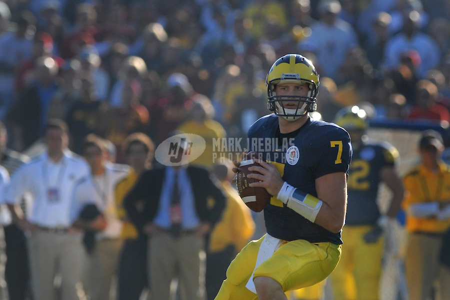 Jan 1, 2007; Pasadena, CA, USA; Michigan Wolverines quarterback (7) Chad Henne against the Southern California Trojans in the Rose Bowl game at the Rose Bowl in Pasadena, California. Southern California defeated Michigan 32-18. Mandatory Credit: Mark J. Rebilas