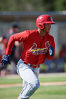 GCL Cardinals right fielder Jhon Torres (33) runs to first base during a game against the GCL Nationals on August 5, 2018 at Roger Dean Chevrolet Stadium in Jupiter, Florida.  GCL Cardinals defeated GCL Nationals 17-7.  (Mike Janes/Four Seam Images)