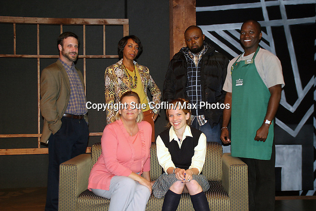 """Photo Shoot on August, 31, 2010 - Emmy-Award Winner Kim Zimmer and cast - Alexandra Rivera (on Kim's right - plays her daughter """"Alex"""") and back row left to right - David Farrington """"Michael"""", Trish McCall """"Segel"""", Jamil Mangan """"Panther"""" and Warner Miller """"Gabriel"""" star in Lost Boy Found in Whole Foods, a new play being produced by Premiere Stages at Kean University and Playwrights Theatre of New Jersey. The production runs from September 2 through 19 in the Zella Fry Theatre on the Kean University campus, located at 1000 Morris Avenue, Union, N.J. Legendary Daytime star, known to millions as Reva Shayne on Guiding Light, takes to the stage before her return to daytime this fall on ABC's One Life to Live and the release of a tell-all book. (Photo by Sue Coflin/Max Photos)"""