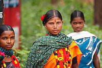 Abhujmaria tribe girls in Narayanpur village in Chhattisgarh India
