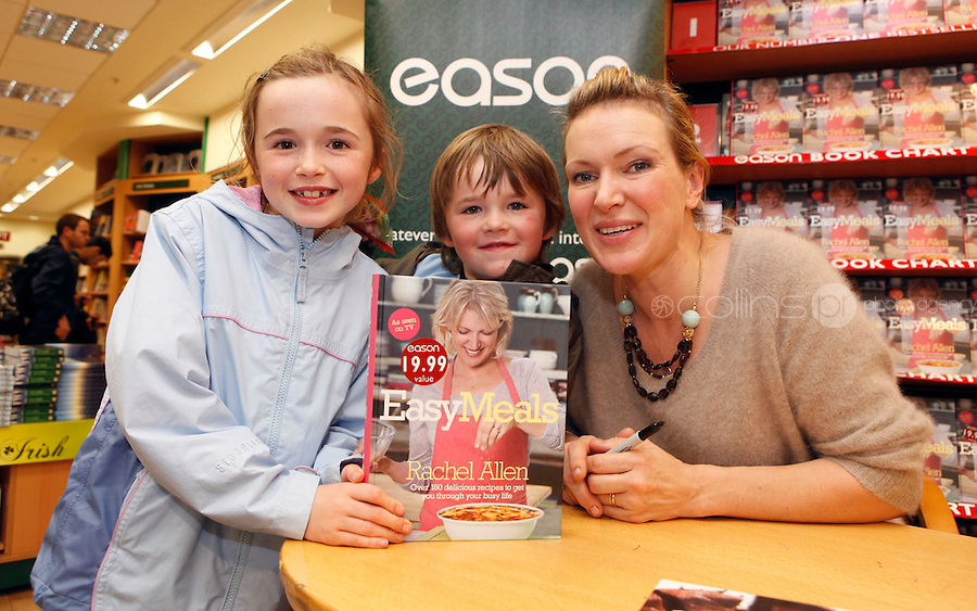 "*** NO FEE PIC ***.01/10/2011.Eason Ireland's leading retailer of books stationery, magazines & lots more hosted a book sigining by best selling cookery writer & TV cook Rachel Allen who signed copies of her new book "" Easy Meals"" for fans Alison Flynn (9) & Adam Flynn (6) both from Rahney.at Eason O' Connell St, Dublin..Photo: Gareth Chaney Collins"
