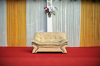 Flowers above a couch at Grewal Farms, one of many wedding reception centres in Amritsar.