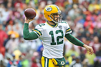 Landover, MD - September 23, 2018: Green Bay Packers quarterback Aaron Rodgers (12) in action during the  game between Green Bay Packers and Washington Redskins at FedEx Field in Landover, MD.   (Photo by Elliott Brown/Media Images International)
