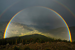 double rainbow during evening storm seen from Rainbow Curve in Rocky Mountain National Park, Colorado, USA