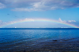 FRENCH POLYNESIA, Tahiti. A full rainbow in Tahiti.