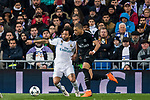 Marcelo Vieira Da Silva of Real Madrid battles for the ball with Kylian Mbappe of Paris Saint Germain during the UEFA Champions League 2017-18 Round of 16 (1st leg) match between Real Madrid vs Paris Saint Germain at Estadio Santiago Bernabeu on February 14 2018 in Madrid, Spain. Photo by Diego Souto / Power Sport Images