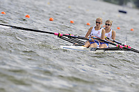 Brandenburg, GERMANY, GBR BLW2X,  Bow, Emma STEELE and Frances FLECTHER, 2008 FISA U23 World Rowing Championships, Saturday, 19/07/2008, [Mandatory credit: Peter Spurrier Intersport Images]..... Rowing Course: Brandenburg, Havel Rowing Course, Brandenburg, GERMANY