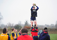 Paul Grant of Bath Rugby wins the ball at a lineout. Bath Rugby training session on November 22, 2016 at Farleigh House in Bath, England. Photo by: Patrick Khachfe / Onside Images