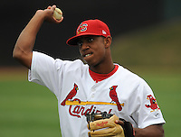 Outfielder Oscar Taveras (7) of the Johnson City Cardinals in a game against the Kingsport Mets on July 17, 2010, at Howard Johnson Field in Johnson City, Tenn. Photo by: Tom Priddy/Four Seam Images