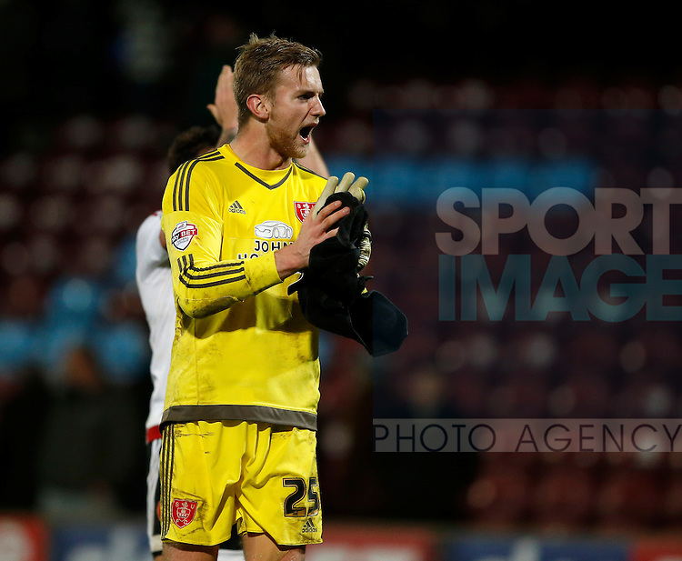 George Long of Sheffield Utd celebrates the win - English League One - Scunthorpe Utd vs Sheffield Utd - Glandford Park Stadium - Scunthorpe - England - 19th December 2015 - Pic Simon Bellis/Sportimage