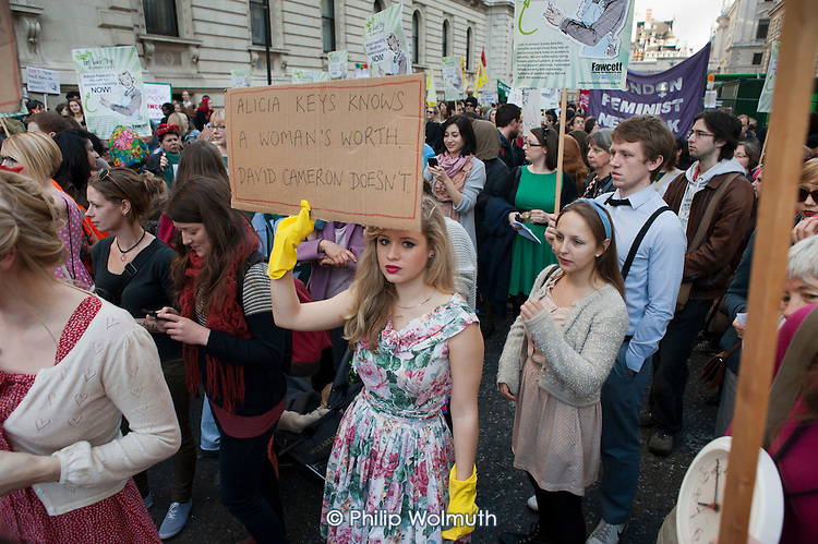 'Don't Turn Back Time on Women's Equality', 1950s dress themed  London march and rally organised by the Fawcett Society.