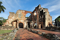 Ruins of the Hospital San Nicolas de Bari, built 1503-52 under governor Don Nicolas de Ovando, the oldest hospital in the Americas, in the Colonial Zone of Santo Domingo, capital of the Dominican Republic, in the Caribbean. The building consisted of a central nave for worship and 2 hospital wards flanking it. Santo Domingo's Colonial Zone is listed as a UNESCO World Heritage Site. Picture by Manuel Cohen