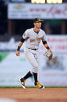 West Virginia Black Bears shortstop Erik Forgione (7) during a game against the Batavia Muckdogs on June 28, 2016 at Dwyer Stadium in Batavia, New York.  Batavia defeated West Virginia 3-1.  (Mike Janes/Four Seam Images)
