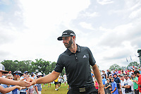 Dustin Johnson (USA) fist bumps young fans as he approaches 11 during Sunday's final round of the PGA Championship at the Quail Hollow Club in Charlotte, North Carolina. 8/13/2017.<br /> Picture: Golffile | Ken Murray<br /> <br /> <br /> All photo usage must carry mandatory copyright credit (&copy; Golffile | Ken Murray)