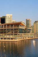 Port of Vancouver Harbour, BC, British Columbia, Canada - Exterior of the New Vancouver Convention and Exhibition Centre, and Highrises along the Downtown City Waterfront