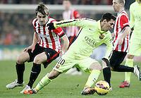 Atletic de Bilbao's Jon Aurtenetxe (l) and FC Barcelona's Leo Messi during La Liga match.February 8,2015. (ALTERPHOTOS/Acero) /NORTEphoto.com