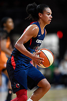 Washington, DC - July 30, 2019: Washington Mystics guard Kristi Toliver (20) handles the ball during first half action of game between the Phoenix Mercury and Washington Mystics at the Entertainment & Sports Arena in Washington, DC. (Photo by Phil Peters/Media Images International)