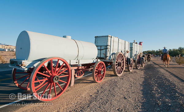 A demonstration of an original twenty-mule-team borax wagon was part of the festivities at the Grand Re-Opening of the Furnace Creek Visitor Center on November 3-4, 2012, in Death Valley National Park, California