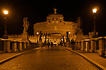 Castel Sant'Angelo as seen from the St. Angelo Pedestrain Bridge at night; the castle is also called the Mausoleum of Hadrian, built between 123 and 139 AD