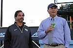 09 October 2014: Wake Forest head coach Tony da Luz (left) with UNC head coach Anson Dorrance (right). The University of North Carolina Tar Heels hosted the Wake Forest University Demon Deacons at Fetzer Field in Chapel Hill, NC in a 2014 NCAA Division I Women's Soccer match. UNC won the game 3-0.