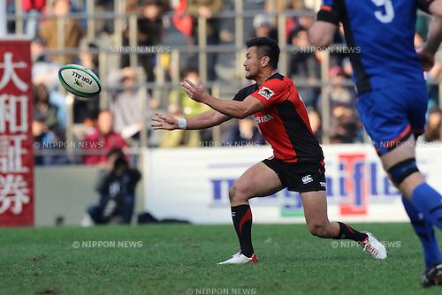 Toshiaki Hirose (),  DECEMBER 12, 2015 - Rugby : Japan Rugby Top League 2015-2016 match between Toshiba Brave Lupus 17-17 Panasonic Wild Knights at Chichibunomiya Rugby Stadium, Tokyo, Japan. (Photo by Naoto Akasaka/AFLO)