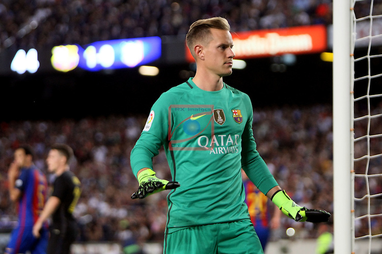 League Santander 2016/2017. Game: 5.<br /> FC Barcelona vs Atletico de Madrid: 1-1.<br /> Marc-Andre ter Stegen.