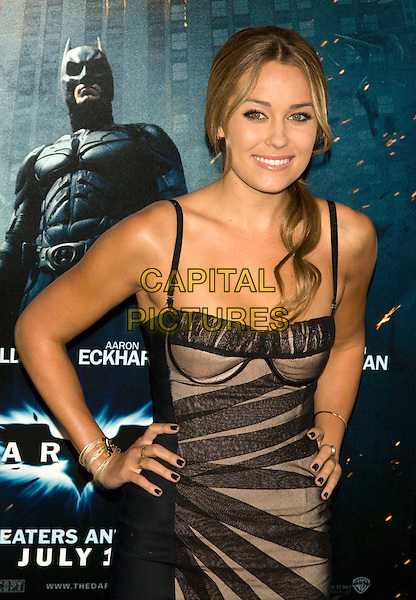 """LAUREN CONRAD .World Premiere of """"The Dark Knight"""".at the AMC Loews Lincoln Square IMAX Theater, New York, NY, USA..July 14th, 2008.batman half length black dress sheer beige hands on hips .CAP/LNC.©TOM/LNC/Capital Pictures."""