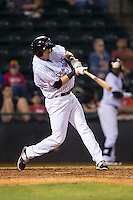 Josh Altmann (21) of the Hickory Crawdads makes contact with the baseball during the game against the Rome Braves at L.P. Frans Stadium on May 12, 2016 in Hickory, North Carolina.  The Braves defeated the Crawdads 3-0.  (Brian Westerholt/Four Seam Images)