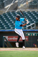 Miami Marlins Tristan Pompey (36) at bat during an Instructional League game against the Washington Nationals on September 25, 2019 at Roger Dean Chevrolet Stadium in Jupiter, Florida.  (Mike Janes/Four Seam Images)