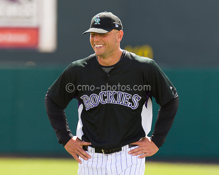 Mar 17, 2008; Tucson, AZ, USA; Colorado Rockies left fielder Matt Holliday (5) laughs prior to a game against the San Francisco Giants at Hi Corbett Field.