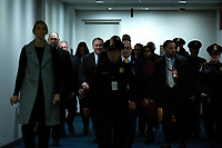 United States Secretary of State Mike Pompeo walks to attend a closed door briefing in the Senate SCIF with United States Secretary of Defense Dr. Mark T. Esper, Gina Haspel, Director, Central Intelligence Agency (CIA), United States Army General Mark A. Milley, Chairman of the Joint Chiefs of Staff, and Acting Director of Intelligence Joseph Maguire at the United States Capitol in Washington D.C., U.S., on Wednesday, January 8, 2020.  97 senators were said to have attended the briefing, which discussed the U.S. drone strike on Iranian military leader Qasem Soleimani and the issue of Congressional authorization for such acts.<br /> <br /> Credit: Stefani Reynolds / CNP/AdMedia