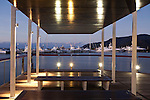 Viewing deck at Marina Point illuminated at twilight.  Cairns, Queensland, Australia