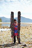 USA, Alaska, Sitka, Sheeta Kwan Naa Kahidi dancer in traditional costume, Jacob Sam Payenna of the Raven clan by the Sitka Sound