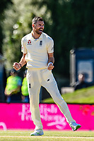 James Anderson of England celebrates the wicket of Henry Nicholls of the Black Caps  during the final day of the Second International Cricket Test match, New Zealand V England, Hagley Oval, Christchurch, New Zealand, 3rd April 2018.Copyright photo: John Davidson / www.photosport.nz