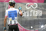 Maglia Bianca Miguel Angel Lopez (COL) Astana Pro Team at sign on before the start of Stage 17 of the 2018 Giro d'Italia, The Franciacorta Stage running 155km from Riva del Garda to Iseo, Italy. 23rd May 2018.<br /> Picture: LaPresse/Fabio Ferrari | Cyclefile<br /> <br /> <br /> All photos usage must carry mandatory copyright credit (&copy; Cyclefile | LaPresse/Fabio Ferrari)