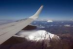 Flying over the volcanoes in Ecuador